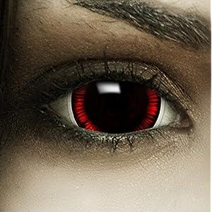 """Maxi Sclera Kontaktlinsen """"Flashback"""" + Kunstblut Kapseln + Behälter von FXContacts in braun rot, weich, ohne Stärke als 2er Pack – farbige lenses perfekt zu Halloween, Karneval, Fasching oder Fastnacht"""