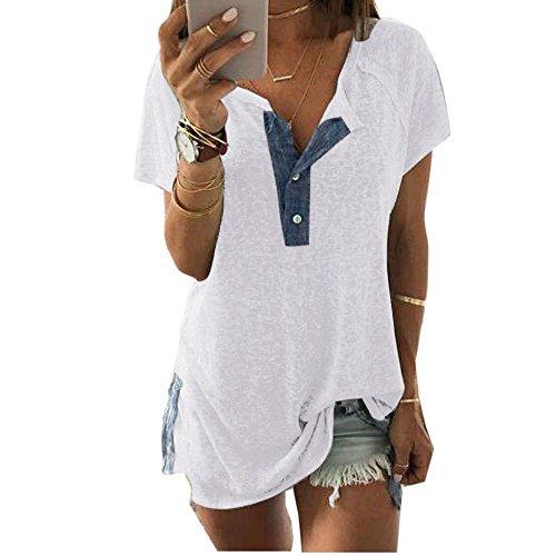 Kurzarm Oberteile Damen,Frauen Oberteile Elegant Leinen Bluse Oberteil Elegant Reine Farbe Knopf Sommer T-Shirt Blusen Große Größe (Weiß, XXXL)