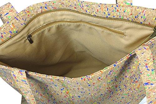 lila Tulpe - Schultertasche Ruby / hochwertige Damen Handtasche / Umhängetasche mit Reißverschluss aus Kork und veganem Leder / leicht, vegan und nachhaltig - 6