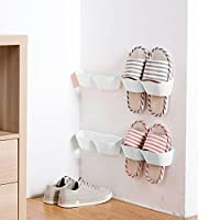 E-MEOLY Wall Mounted Shoes Rack Home Shoe Shelf Plastic for Entryway Over the Door Shoe Hangers Organizer Hanging Shoe Storage Racks, 4pcs Pack
