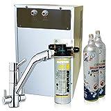 Wasserfilter System ForHome® für die küche Kühler Karbonator Wasseraufbereiter Mikrofiltrations Wasser Everpure von Spüle, gekühlte Kühlwasser Sprudelwasser mit 4-Wege Hahn +2 CO2-Zylinder