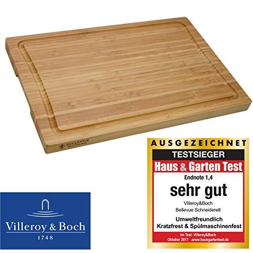 VilleroyBoch Schneidebrett Holz-Brett Küchenbrett Zubereitungsbrett Tranchierunterlage Bambus mit Saftrille Schneidunterlage Schneidbrett Gemüse 39.5 x 26 x 2cm
