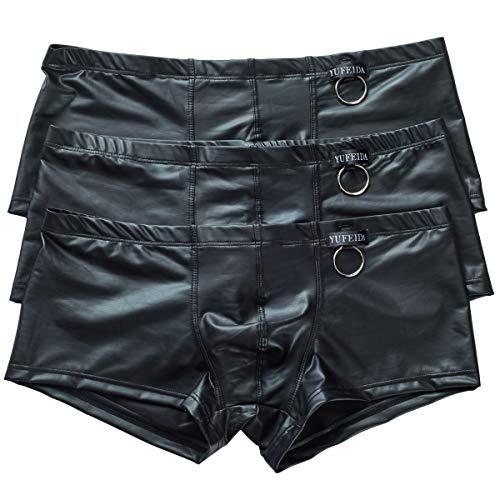 Herren Boxer Slips Unterwäsche Schwarz Dessous Bikini Strings Höschen 3er Pack (XL, 3-Stück Boxers 2)