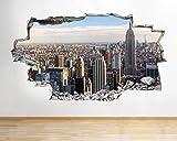 tekkdesigns A118New York City Szene NYC Wolkenkratzer Wand Aufkleber 3D Poster Art Aufkleber Vinyl Kids Schlafzimmer Baby Kinderzimmer Cool Wohnzimmer Hall Jungen Mädchen (Medium (52x 30cm))
