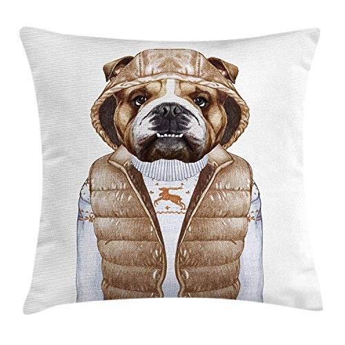 No Soy Como Tu kissenbezüge Bulldog Throw Pillow Illustration of Urban Puppy as a Human in a Down Vest and Xmas Sweater, Decorative Square Accent Pillow Case, 18 X 18 inches, Pale Brown Baby Blue Stripe Down Vest