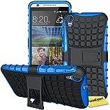 HTC Desire 820 Funda, FoneExpert® Heavy Duty silicona híbrida con soporte Cáscara de Cubierta Protectora de Doble Capa Funda Caso para HTC Desire 820 + Protector Pantalla (Azul)