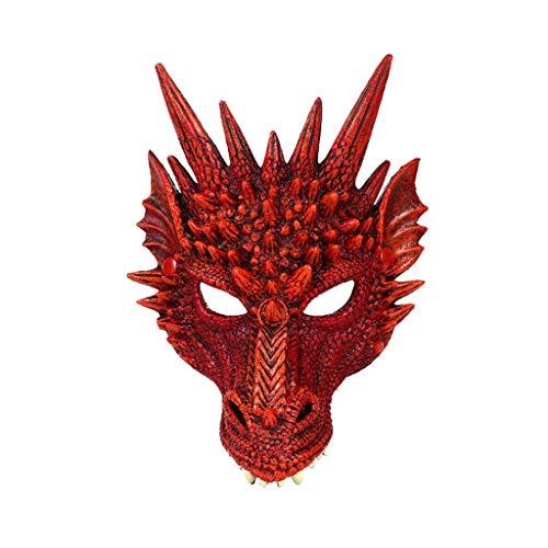 Unter Dem Kostüm Thema Meer Party - huichang Maske - Halloween-Maske - Halloween verkleiden Sich - Halloween Fasching Karneval Party Kostüm Cosplay Dekoration - Halloween Drachenmaske by (Rot)