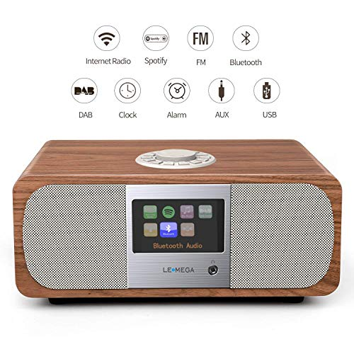 LEMEGA M3+ Smart Music System (Estéreo 2.1) con Wi-Fi Radio por Internet, Spotify, Bluetooth, DLNA, Dab+, Radio FM, Alarmas, Ajustes Preestablecidos Y Control De Aplicaciones Inalámbricas -Nogal