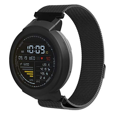 Sisit 20mm einstellbare ersatz Edelstahl Armband Band Strap für xiaomi huami amazfit verge Jugend Uhr a1808 mit magnetschnalle Design geeignet für männer und Frauen (Schwarz)