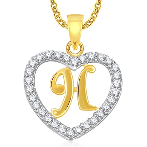 H  Letter Pendant Locket Gold Plated Alphabet Heart For Men And ... d3fb110fc4f