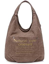 Generic European Style Canvas Large Tote Travel Bag Women's Handbag (Brown)