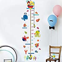 AZXC Wall Stickers Whale Sea World Chart Kids Wall Decals Undersea Creature Removable Wall Stickers for Kids Nursery Bedroom Living Room(90CM*60CM)