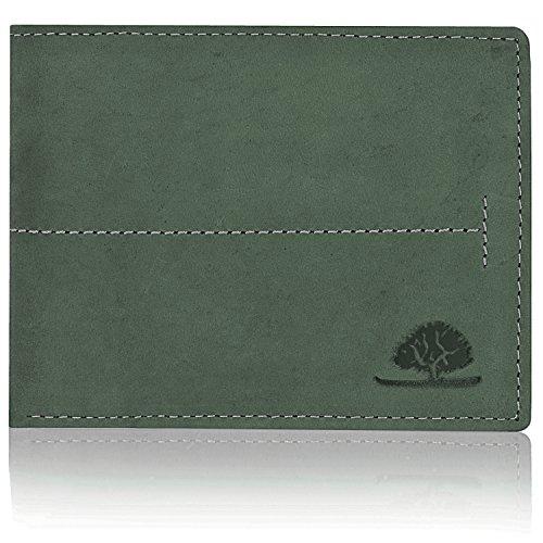 Greenburry Vintage Geldbörse Querformat Leder 12 cm mit Klappfach - hunter green