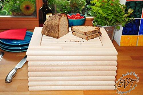 Brotschneidebrett & Frühstücks-Servierbrett, Buche, 8 Stück - massive Holz-Picknick-Set / Picknicksets, hochwertige ca. 24 mm starke Picknick-Holzbrett rund - oval / abgerundete Kanten, Holzbrettchen groß rund, klassisch mit Krümelfach + Krümelgitter / Gitter, mit herausnehmbarem Schneiderost natur Maße viereckig je ca. 36 cm x 29 cm als Kräuterbrett, Brotzeitbrett, Bayerisches Brotzeitbrettl, NEU MASSIVE Picknick-Set Schneidebretter, Steakteller schinkenbrett rustikal, Schinkenteller von BTV