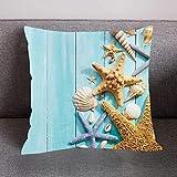 Amphia - Flusspferd Seestern Muster Serie,Drucken Kissenbezug Polyester Sofa Car Kissenbezug Home Decor(Polyester,45cmx45cm)