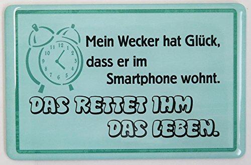 """Kühlschrankmagnet mit 3D-Aufkleber ca. 87 x 56 mm - lustiger Spruch: """"Mein Wecker hat Glück, dass er im Smartphone wohnt. Das rettet ihm das Leben."""""""
