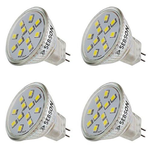 SEBSON LED Lampe GU4/ MR11 2W (1.6W), ersetzt 20W Glühlampe, warmweiß, 150lm, Leuchtmittel 110°, 12V DC, 4er Pack -