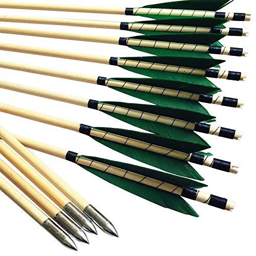 """MEJOSER Holzpfeile Echte 4"""" Naturfedern 32 Zoll Pfeile für Bogen Selfnock mit Wickung Bogenpfeile für bis 55 lbs traditionalen Bogen Bogenschießen (Grün)"""