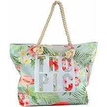 8e80ebed4abbd MC-TREND® Große Strandtasche mit Reißverschluss Seile Taue als Trageriemen  Damen Shopper Tasche Schultertasche