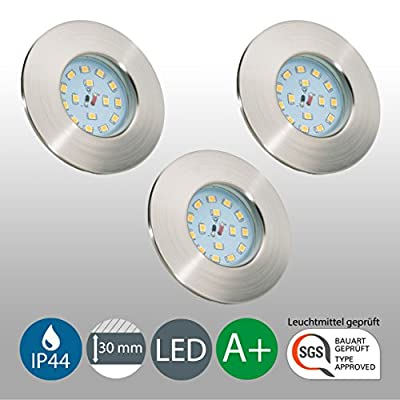 LED Recessed Spotlight, Ceiling Light, Swivel-Mounted, Can be Dimmed, LED 5.5 Watt, 470 Lumen, Matt Nickel from B.K.Licht
