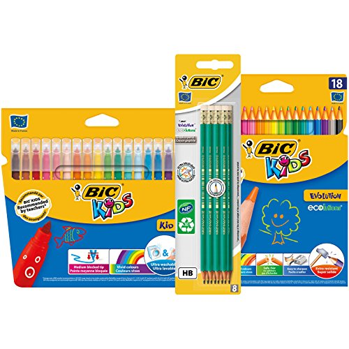 BIC Evolution Original with Eraser Graphite Pencils, BIC Kids Kid Couleur Felt Pens, BIC Kids Evolution ECOlutions Colouring Pencils - Lot of 1