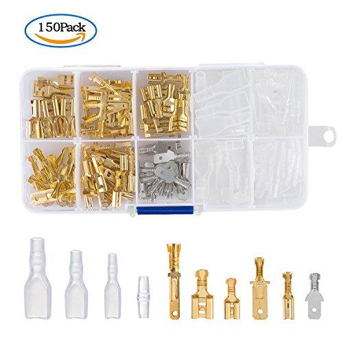 ZWOOS 150 Stück Flachsteckern Kabel Stecker mit Isolierhülse Sortiment Kit Flachsteckhülsen Flachstecker Spade Kabelschuhe Sleeve Terminal Weiblich (Kit Crimp Battery Tool)