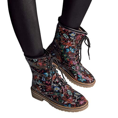 TianWlio Frauen Herbst Winter Stiefel Schuhe Stiefeletten Boots Stiefel Leder Reißverschluss Quadrat Ferse Hohe Stiefel Overknee Schuhe Strass Stiefel rot 41 -