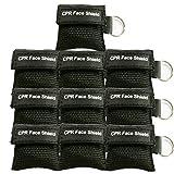 LSIKA-Z 10 Stücke cpr maske schlüsselanhänger RESPI-Key Beatmungsmaske Schlüsselanhänger Beatmungshilfe Notfalltuch Taschenmaske Erste Hilfe (BLACK)