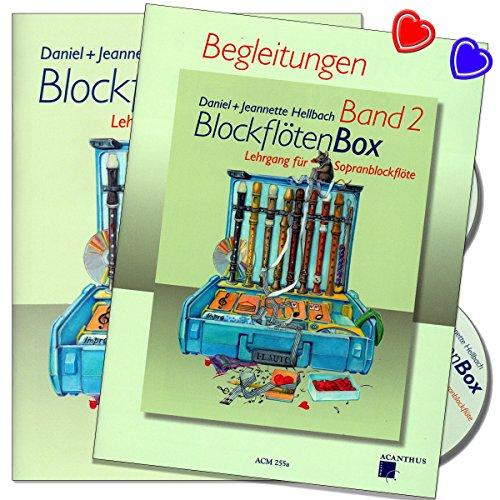 BlockflötenBox Band 2 + Klavierbegleitung - Lehrgang ( Unterstufe: 7 - 8 Jahre) + für Sopranblockflöte mit 2 CDs von Daniel Hellbach - 2 X Notenklammer