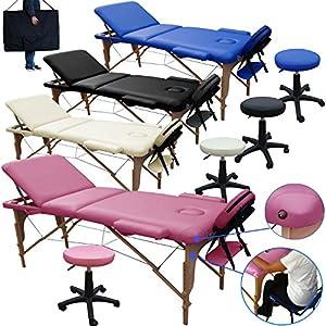 Beltom Mobile Massagetisch Massageliege Massagebank 3 zonen klappbar + Kosmetik hocker – Pink