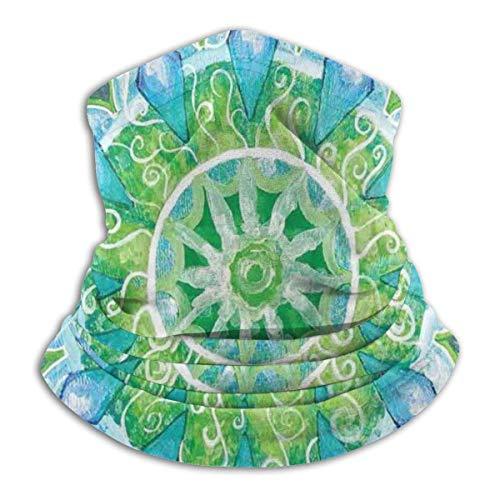 Reghhi Grand Mandala con Calentadores de Cuello Boho de Hoja Verde Invierno Bufanda mágica Sports Gaiter Headwear