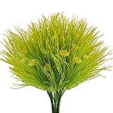 Nahuaa Kunststoff Pflanzen 4 Stück Künstliche Sträucher grün Zweig Deko Kunstblumen mit Gelb Blumen Draußen Balkon Blumenarrangement Hochzeit Küche