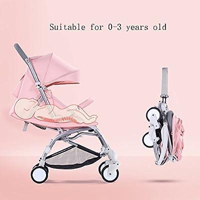 Sillas de Paseo Almohadillas de aleación de Aluminio Ligero Plegable Instalación Gratuita Siéntese o acuéstese Cochecito de bebé Simple para niños Paraguas Coche Sillas Ligeras