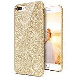 KunyFond Glänzend Glitzer Schutzhülle Silikon Hülle Diamant Crystal Clear TPU Handyhülle Case Durchsichtig Transparent Weichem Tasche Bumper Schale für iPhone 7 Plus/8 Plus (Gold)