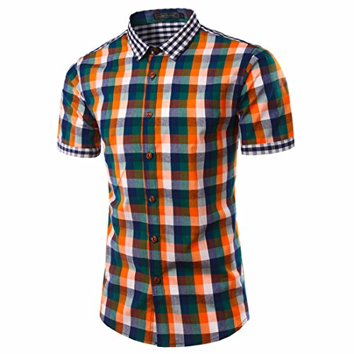Men's Plaid Slim Fit Short Sleeve Casual Shirts Orange