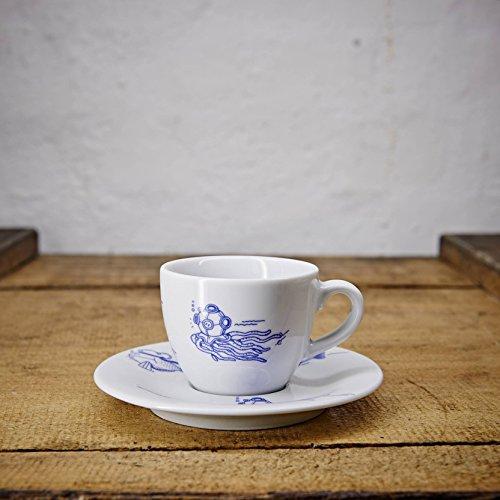Espresso Tasse/Untertasse maritimes Design Fische - Porzellan blau-weiss von Ahoi Marie (Espresso-frühstück)