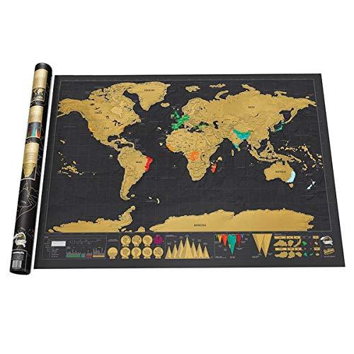 (Scratch Off Weltkarte, Mini Black Deluxe Reise Kratzen Weltkarte Poster Reisenden Urlaub Log Geschenk personalisierte Karte)