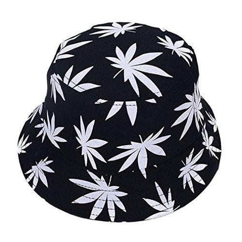 EOZY Unisex Sonnenhut Bucket Hat Fischerhut Cannabis Muster Mütze Weiß