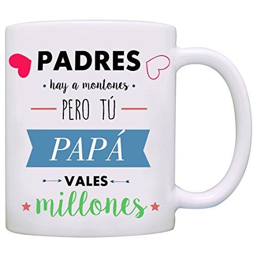 Tazas para regalar a padres - Padres hay a montones pero tú PAPÁ vales millones - MUGFFINS - Tazas con frases de regalo para papas