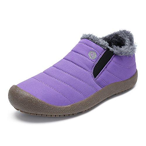 SAGUARO® Herren Damen Winterschuhe Warm Gefütterte Boots Stiefelette Outdoor Schneestiefel Winter Schuhe,Low top lila,39 EU (Lila Stiefeln)