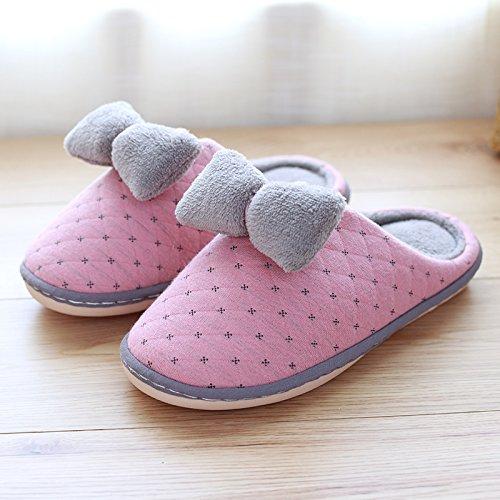 Fankou pantofole inverno interno non - coppie slip di cotone femmina pantofole uomini spessa home home inverno caldo Rot
