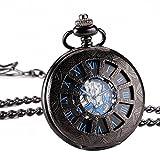 ManChDa Retro Handaufzug mechanische Taschenuhr Skelett Uhr graviert blau schwarz Metall + Geschenk-Box