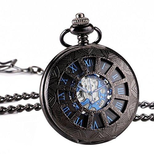 ManChDa® Retro Handaufzug mechanische Taschenuhr Skelett Uhr graviert blau schwarz Metall + Geschenk-Box