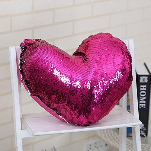 Belimely Pailletten Kissenbezüge englischen Buchstaben Glitzer Dekorativer Überwurf-Kissenbezug mit Verstecktem Reißverschluss Luxus, Heart-shaped4, 14
