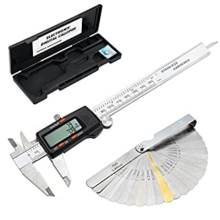 eSynic Digital Vernier Caliper with Feeler Gauge 150mm and 6 Inch Stainless Steel Body and with Large LCD Screen Fractions Inch Metric Conversion Measuring Tool for Designers Engineers and Mechanics