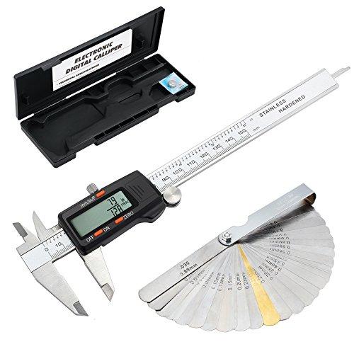 ESYNiC 150mm Calibro Digitale Frazione/Pollice / Metrico in Acciao Inox con Spessimetro 32 Palette - 6' Calibro a Corsoio Elettronico Micrometro LCD Display Auto Spegnimento