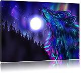 Abstrakter Wolf mit Mond Format: 100x70 auf Leinwand, XXL riesige Bilder fertig gerahmt mit...