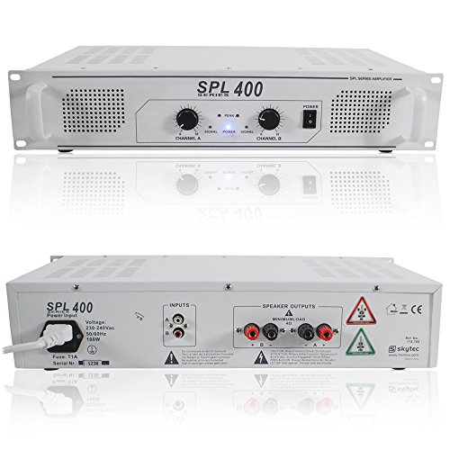 Skytec SPL400 White Semi Professional Audio DJ Disco PA Power Amplifier 400W