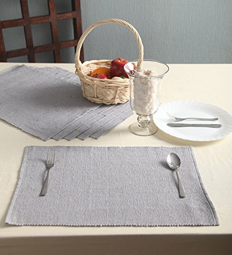 Lushomes Cotton Ribbed Placemats Table Linen Set Of 6 Colour Available:  Amazon.co.uk: Kitchen U0026 Home