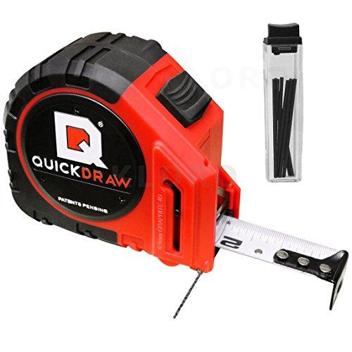 Preisvergleich Produktbild Maßband 8 m mit Bleistift - zeitsparendes Profi Bandmaß mit Grafit Marker, metrischem Maßstab und Gürtelclip, QuickDraw QD8M-PRO